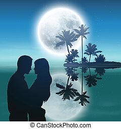 tele, árnykép, sziget, bitófák, párosít., hold, pálma, tenger, night.