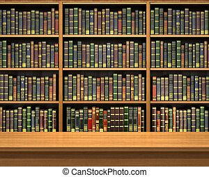 tele, öreg előjegyez, háttér, könyvespolc, asztal, library.