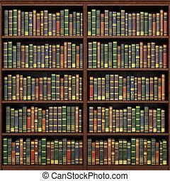 tele, öreg, háttér., előjegyez, könyvespolc, library.