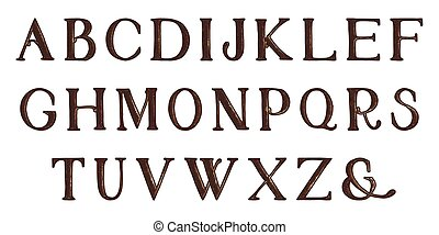 tele, alphabet., kéz, vektor, grunge, draw., letters.