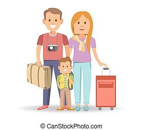 tele, család, bőrönd, utazás, hajlandó, boldog