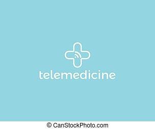tele, digital technology, telemedicine, szolgáltatás, orvosság, wifi, orvosi, elszigetelt, icon., app., jelez, konzultáció, kereszt, logotype, vektor, fogalom, jel