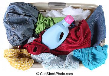 tele, mosoda, tető, koszos, kosár, öltözet, kilátás