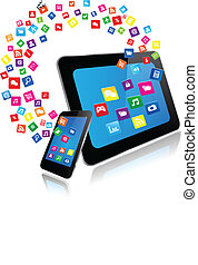 telefon, apps, furfangos, tabletta pc