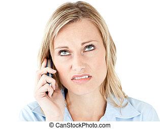 telefon, beszéd, csalódott, üzletasszony