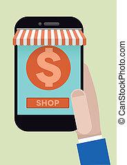 telefon, bevásárlás