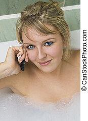 telefon, fürdőkád