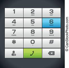 telefon, fehér, szám, keypad