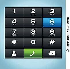 telefon, fekete, szám, keypad