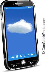 telefon, fogalom, felhő