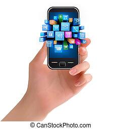 telefon, hatalom kezezés, ikon, mozgatható