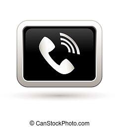 telefon, icon., ábra, vektor