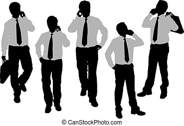 telefon, körvonal, férfiak, beszélő, ügy