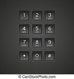 telefon, vektor, eps10, keypad, háttér.