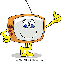 televízió, betű, karikatúra