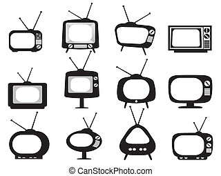 televízió díszlet, fekete, retro, ikonok