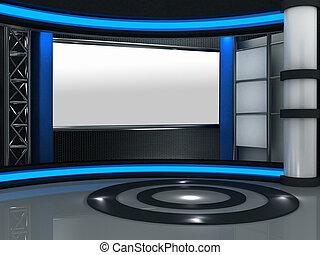 televízió díszlet, műterem, tényleges, 3