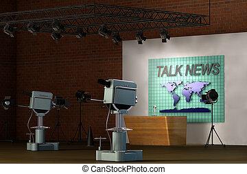 televízió studio, retro