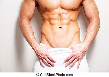 teljes, álló, közelkép, törülköző, body., shirtless, fiatal, ellen, háttér, befedett, white hím, ember