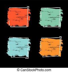 teljes, állhatatos, grunge, főcím, banner., poszter, felett, struktúra, festék, ütés, derékszögben tervezés, ecset, vector., jel, akril, keret