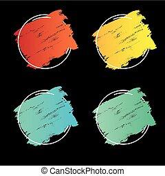 teljes, állhatatos, grunge, főcím, banner., poszter, felett, struktúra, festék, ütés, tervezés, ecset, vector., jel, akril, keret
