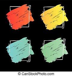 teljes, állhatatos, grunge, frame., banner., poszter, felett, struktúra, festék, ütés, derékszögben tervezés, ecset, jel, akril, főcím