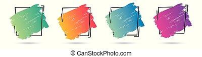 teljes, állhatatos, grunge, frame., banner., poszter, felett, struktúra, festék, vektor, tervezés, akril, jel, főcím