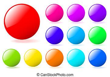 teljes, összeadás, állhatatos, gallery., szöveg, többszínű, körök, vektor, icons., több, az enyém, shadow., sima
