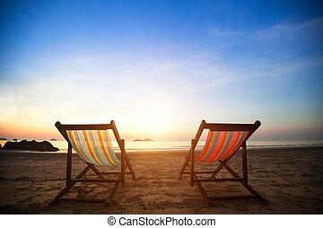 teljes, concept., henyélők, szünidő, lesiklik, lakatlan, tenger, pár, napkelte, tengerpart