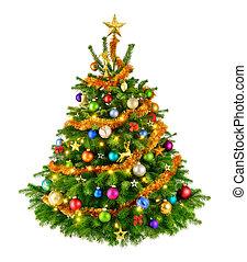 teljes, fa, karácsony, színes