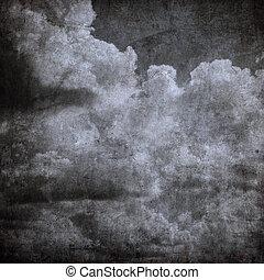 teljes, grunge, ég, mindenszentek napjának előestéje, felhős, háttér