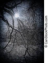 teljes, grunge, kép, mindenszentek napjának előestéje, sötét, erdő, háttér