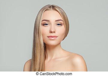 teljes, nő, természetes szépség, egészséges, világos, hosszú szőr, skin., portrait., szőke, szőke, leány