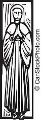 temetés, kép, hölgy, középkori