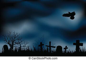 temető, graveyards, vagy, éjszaka