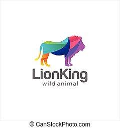 template., kabala, vad, oroszlán, kreatív, elvont, vector., ikon, színes, jel, állatvilág, tervezés