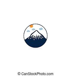 template., nap, jel, kerek, alakzat., tervezés, hegyek, hegy