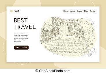 template., utazás, leszállás, város, sketching., franciaország, művészet, vektor, oldal, egyenes, saint-paul-de-vence., idegenforgalom, háló, silhouette., illustration., banner., concept.