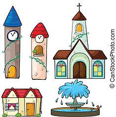 templom, épület, bástya, szökőkút, óra