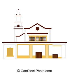 templom, épület, elszigetelt