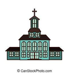 templom, elszigetelt, ikon