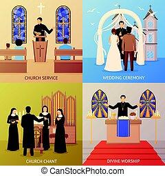 templom, fogalom, tervezés, 2x2