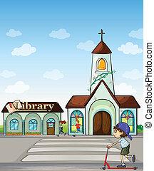 templom, roller, kölyök, könyvtár, joggers