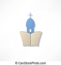 templom, vektor, ikonok