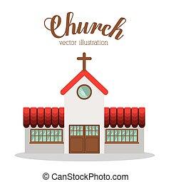 templom, vektor, illustration., tervezés