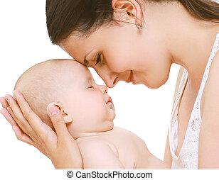 tender, alszik, csecsemő, anyu
