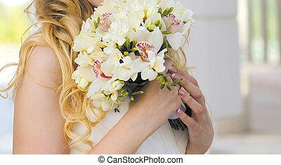 tender, csokor, closeup, esküvő
