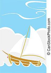 tenger, csónakázik, egyszerű
