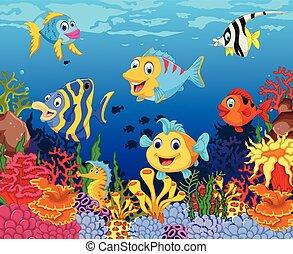 tenger, fish, karikatúra, furcsa, élet
