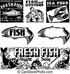 tenger gyümölcsei, vektor, retro, grafika